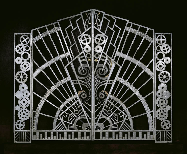 Pair of Gates from the Chanin Building, New York City 1928. René Paul Chambellan (American, 1893–1955). Wrought iron, bronze; 189.2 x 114.3 x 11.4 cm (each). Cooper Hewitt, Smithsonian Design Museum, Gift of Marcy Chanin, 1993-135-1, 2