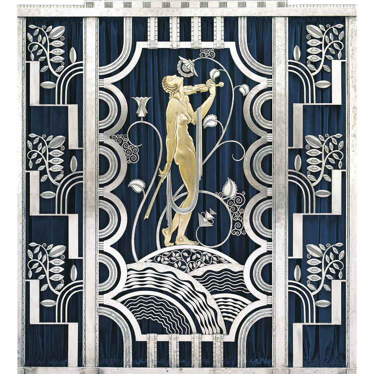 Muse with Violin Screen (detail), 1930. Paul Fehér (Hungarian, 1898–1990), designer. Rose Iron Works (American, Cleveland, est. 1904). Wrought iron, brass; silver and gold plating; 156.2 x 156.2 cm. The Cleveland Museum of Art, On Loan from Rose Iron Work