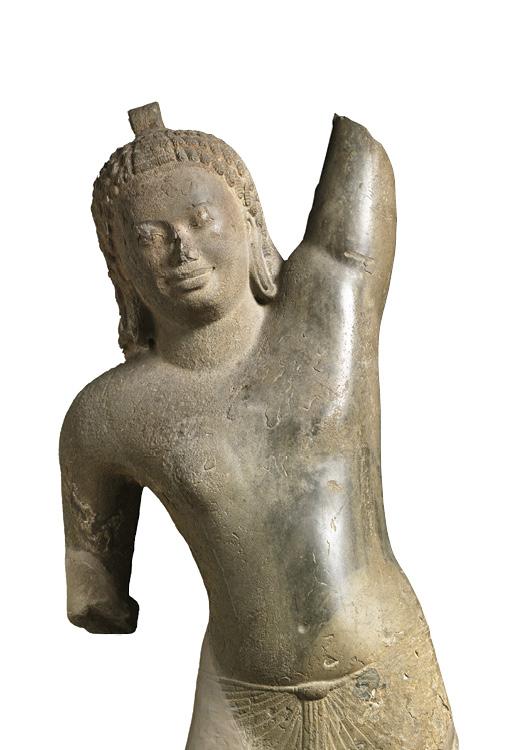 Krishna Lifting Mount Govardhan (detail) c. 600. Southern Cambodia, Takeo Province, Phnom Da, Pre- Angkorean period (600–802). Sandstone; h. 244 cm. The Cleveland Museum of Art, John L. Severance Fund, 1973.106. In Krishna and the Gods of Stone Mountain