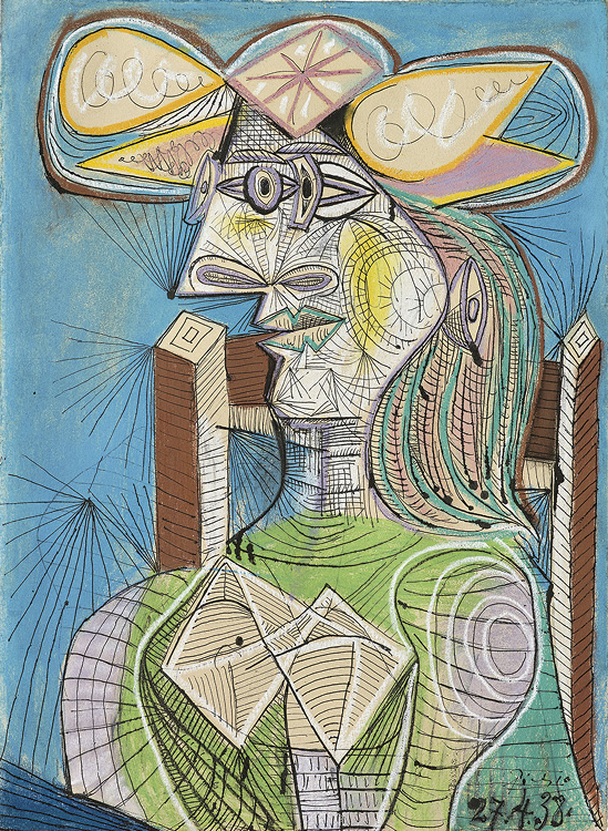 Seated Woman (Dora) 1938. Pablo Picasso (Spanish, 1881–1973). Pen, ink, gouache, colored chalk on paper; 76.5 x 56 cm. Fondation Beyeler, Riehen / Basel, Beyeler Collection, Inv. 72.5. Photo: Peter Schibli. © 2019 Estate of Pablo Picasso / Artists Rights