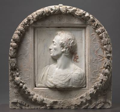 Julius Caesar, 1455–60. Mino da Fiesole (Italian, 1429–1484). Marble with traces of gilding and limestone with traces of polychromy; 83 x 84 x 25 cm. The Cleveland Museum of Art, John L. Severance Fund 2009.271.