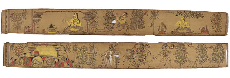 recto (above) and verso (below) Leaf from a Romance of Chandrabhanu and  Lavanyavati of Upendra Bhanja (Indian, died 1740) 1700s. Eastern India, Orissa. Gum tempera and charcoal on palm leaf; 5.1 x 41 cm. Purchase and partial gift from the  Catherine and