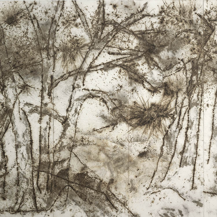 Pine Forest and Wolf (detail), 2005. Cai Guo-Qiang. Gunpowder, fuse, burned paper backed on wood panels; 230 x 308 cm. The Cleveland Museum of Art, Gift of Agnes Gund, 2006.134