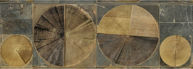 Pivot Irrigation #7, High Plains, Texas Panhandle, USA 2011. Edward Burtynsky. Digital chromogenic print on paper; 107.2 x 304.8 cm. New Orleans Museum of Art, Gift of the artist, 2016.46.38. © Edward Burtynsky, courtesy Weinstein-Hammons Gallery, Minneap