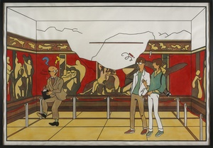 Cheyney and Eileen Disturb a Historian at Pompeii, 2005. Lucy McKenzie (Scottish, b. 1977).Acrylic and ink on paper; 254 x 368.3 x 12.7 cm. The Museum of Contemporary Art, Los Angeles. Purchased with funds provided by the Drawings Committee