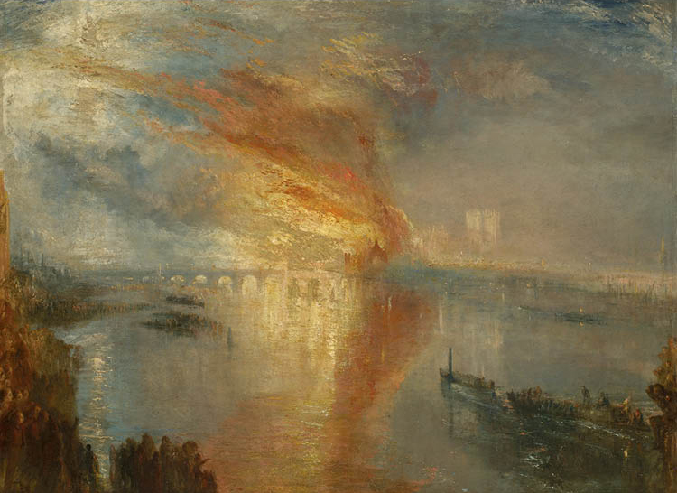 The Burning of the Houses of Lords and Commons, 16 October 1834 1835. Joseph Mallord William Turner (British, 1775–1851). Oil on canvas;  92 x 123.2 cm. Bequest of John L. Severance, 1942.647