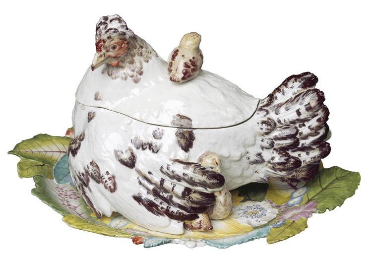 Hen and Chicks Tureen and Stand c. 1755. Chelsea Porcelain Factory (Britain). Soft-paste porcelain; 24.8 x 34.9 x 25.7 cm. Purchase from the J. H. Wade Fund, 1984.58