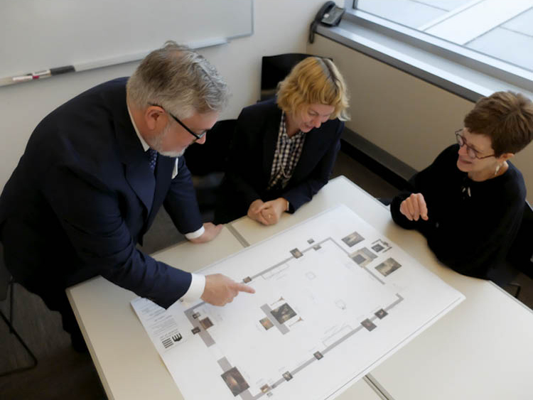 Virtually Installed From left: Harrison, Korkow, and  Wieseman peruse a gallery plan for the reinstalled British galleries this past September.