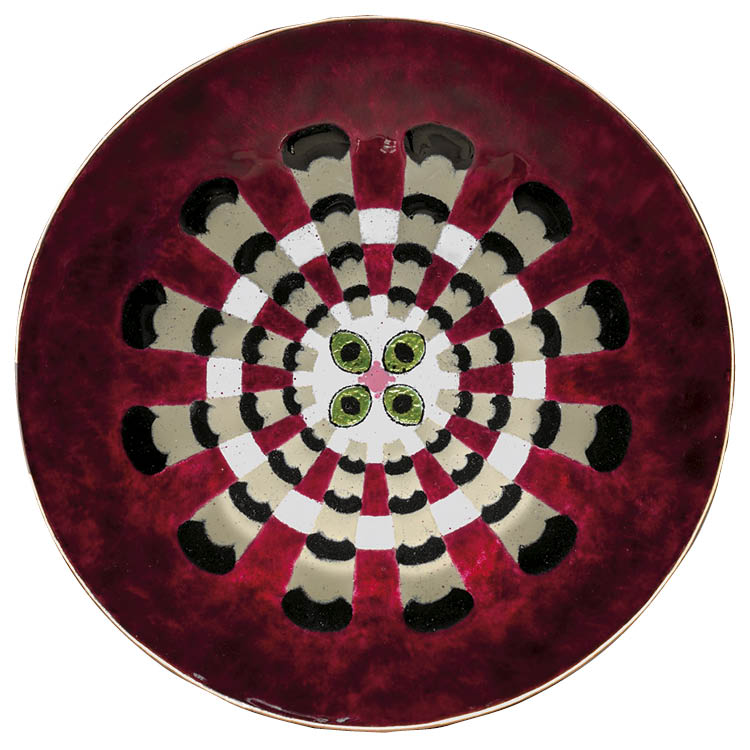 My Cat Whirling on a Red Cushion In the 1944 May Show, Mildred Watkins (American, 1883–1968) won second place in the Enameling on Metal category. The CMA owns this plate and three other works by the artist. Enamel; diam. 18.4 cm. The Mary Spedding Millike