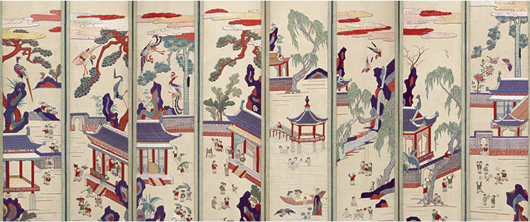One Hundred Children at Play (detail), early 1900s. Korea, Joseon dynasty (1392–1910). Ten-panel folding screen; embroidery on silk. Seoul Museum of Craft Art, 2018-D-Huh-0001