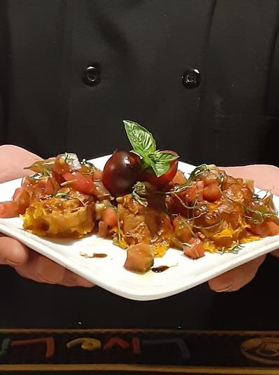 ictured: Heirloom Tomato & Smoked Cheddar Bruschetta