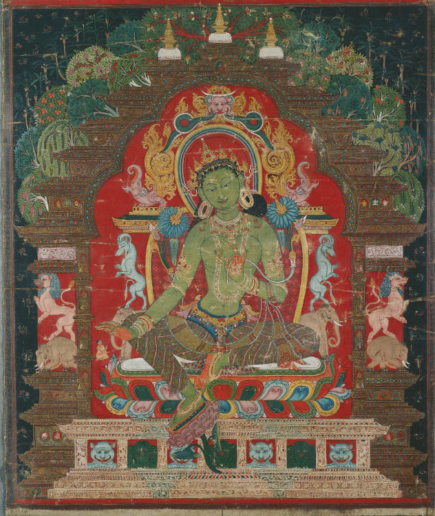 Thangka of Green Tara, c. 1260s. Tibet. Color on cloth. Purchase from the J. H. Wade Fund by exchange, from the Doris Wiener Gallery 1970.156