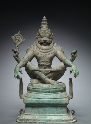 Yoga Narashimha, Vishnu in His Man-Lion Avatar, c. 1250. South India. Bronze; h. 55 cm. The Cleveland Museum of Art, Gift of Dr. Norman Zaworski 1973.187.