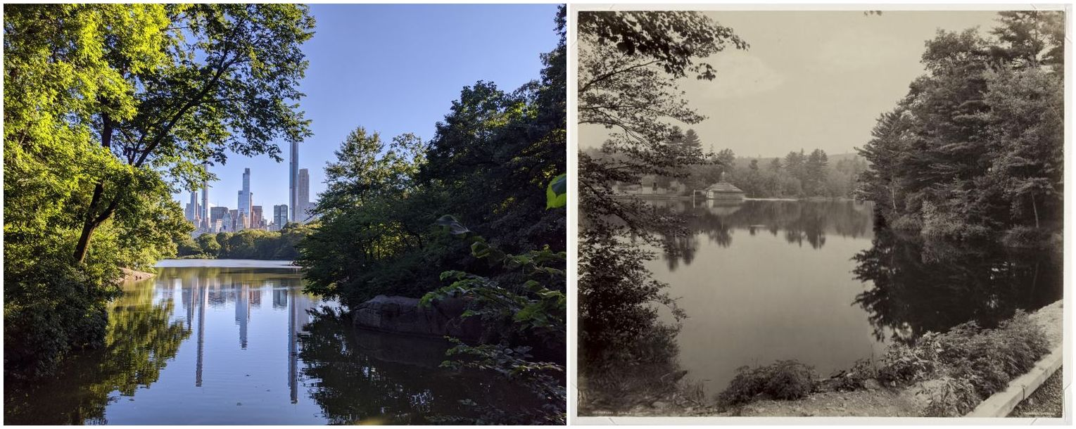 two visually similar photographs of lakes, one a modern, color photograph, the other a black and white image