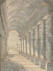 Barrel-Vaulted Arcade Rendered in Perspective, 1700s. Francesco Battaglioli. 1954.687