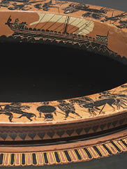 Dinos (detail), c. 520–515 BC. Circle of the Antimenes Painter (Greek, Attic). Black-figure terracotta; d. 50.8 cm, h. 33.6 cm. John L. Severance Fund 1971.46.