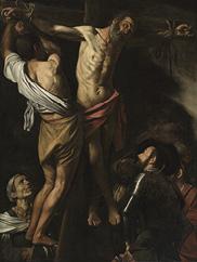 The Crucifixion of Saint Andrew (detail), 1606–7. Michelangelo Merisi da Caravaggio (Italian, 1573–1610). Oil on canvas; 202.5 x 152.7 cm.  Leonard C. Hanna Jr. Fund 1976.2