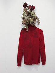Sister, 2011. Anicka Yi (Korean, b. 1971). Tempura-fried flowers, cotton turtleneck; dimensions variable. Collection Jay Gorney and Tom Heman, New York.