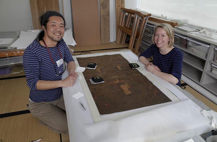 Transpacific Team Keisuke Sugiyama, from the Tohoku University of Art and Design in Yamagata, and Sara Ribbans, CMA associate conservator of Asian paintings