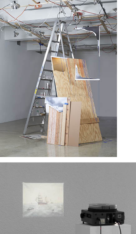 Plywood Sunset Leaning (Fragment Series) 2015. Sarah Sze (American, b. 1969). Acrylic paint, wood, archival prints, ladder, mirror, paper cups, stone, lamp, tools, pen, tape, paintbrush, newspaper; 350.5 x 292.1 x 190.5 cm. Gift of Agnes Gund, 2015.145. ©