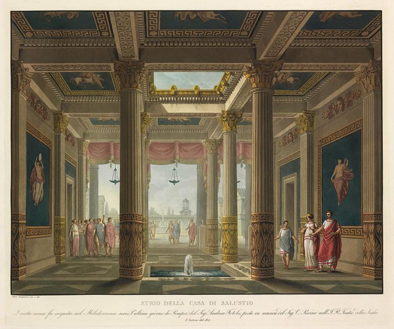 Atrium of the House of Sallust, designed by Alessandro Sanquirico