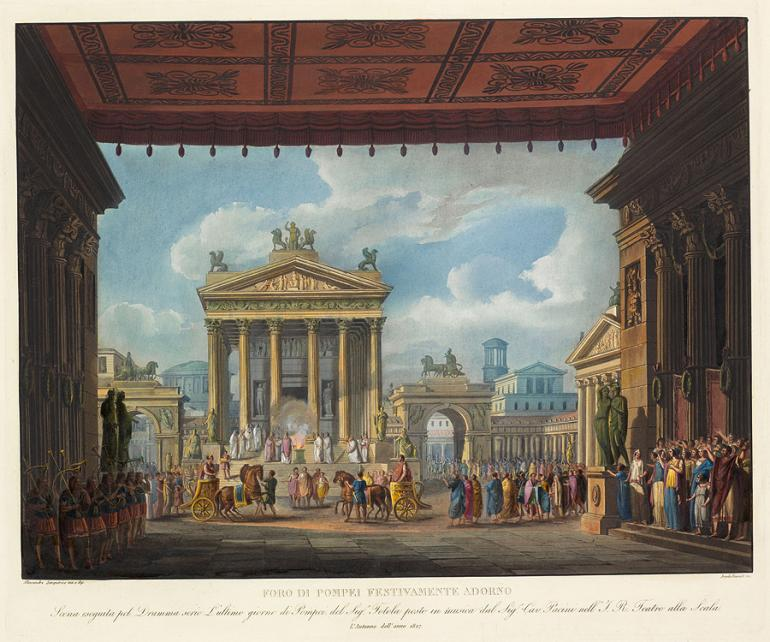Forum of Pompeii Decorated for a Festival Designed by Alessandro Sanquirico Engraved by Angelo Biasioli
