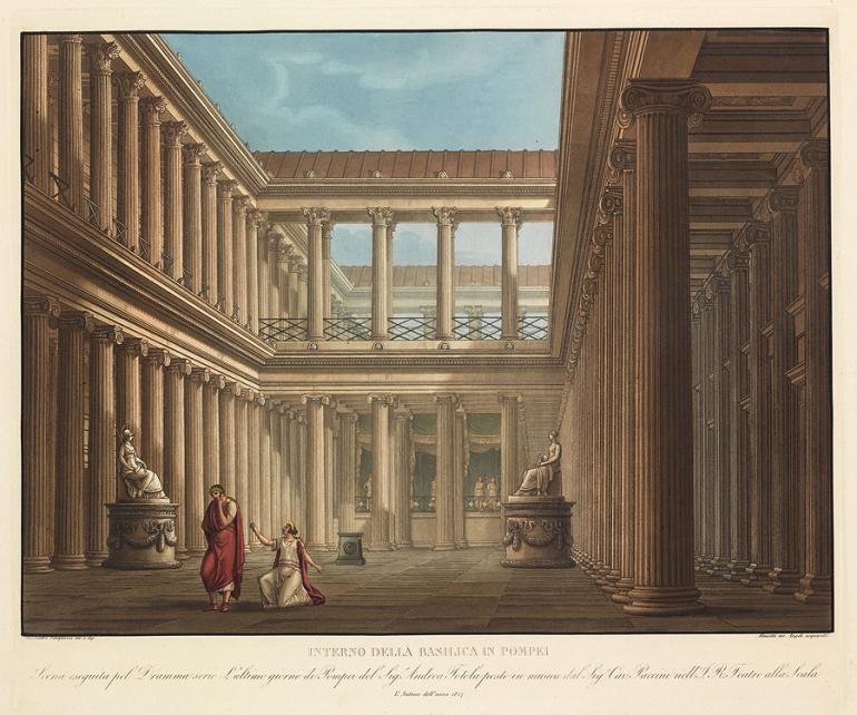 Inside the Basilica at Pompeii Designed by Alessandro Sanquirico Engraved by Aluisetti Colored by Angeli