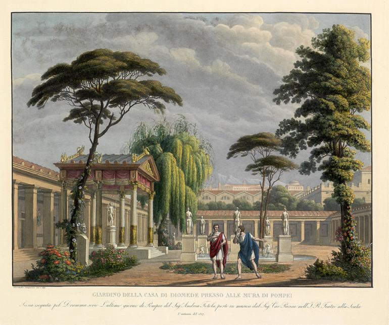 Garden of the House of Diomedes near the Walls of Pompeii Designed by Alessandro Sanquirico