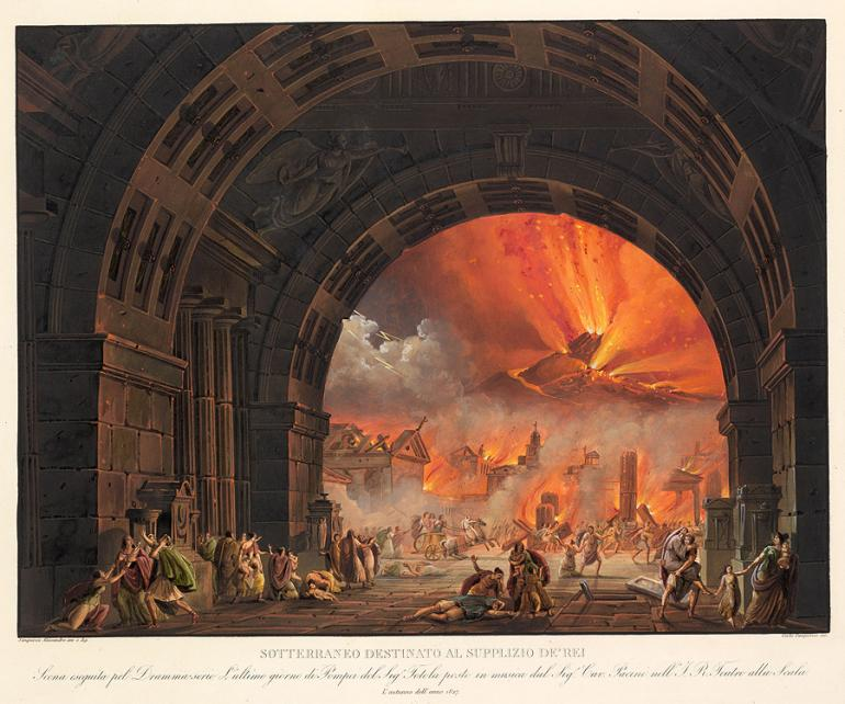 Underground Chamber for the Punishment of Criminals [The Eruption of Vesuvius] Designed by Alessandro Sanquirico Engraved by Carlo Sanquirico