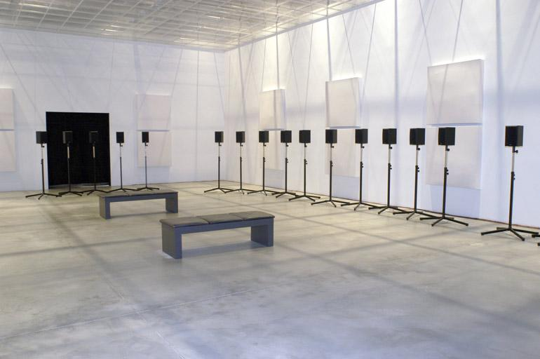 Forty-Part Motet, 2001. Janet Cardiff (Canadian, born 1957). 40-track audio installation; 14 minutes in duration. Installation view at the Cité de l'Énergie, Shawinigan, Quebec National Gallery of Canada Photo © NGC