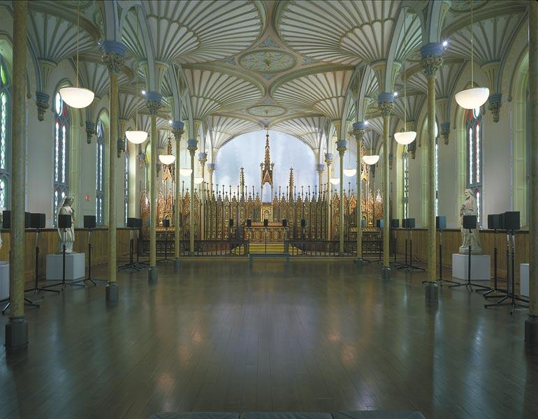 Forty-Part Motet, 2001. Janet Cardiff (Canadian, born 1957). 40-track audio installation; 14 minutes in duration. Installation view at the Rideau Chapel, National Gallery of Canada, Ottawa. National Gallery of Canada Purchased 2001