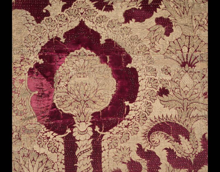 Velvet with Pomegranate Pattern (detail), 1450–1500. Italy, Florence. Silk, gold thread, and velvet; 300.9 x 56.5 cm. Purchase from the J. H. Wade Fund 1973.20