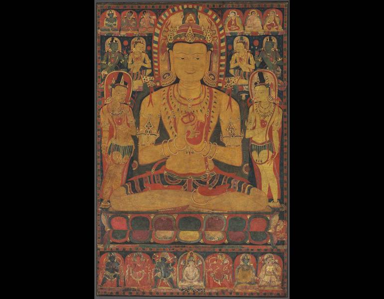 Tantric Buddha, c. 1150–1200. Central Tibet. Opaque watercolor, ink, and gold on cotton; 111 x 73 cm. Mr. and Mrs. William H. Marlatt Fund 1989.104