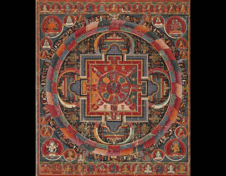 Mandala of Vajradakini, c. 1425. Central Tibet, Ngor Monastery. Opaque watercolor on cotton; 82.5 x 72.4 cm. Purchase from the J. H. Wade Fund 1993.4