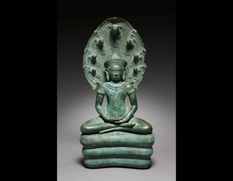 Naga-enthroned Buddha, 1100s. Cambodia, Angkor. Bronze; 58.4 x 28 cm. John L. Severance Fund 1963.263.a–c