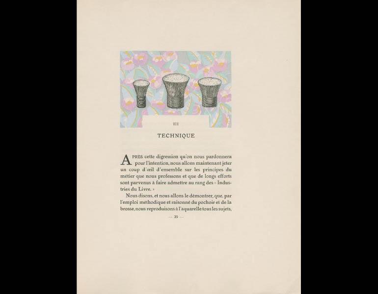 Saude, J. (1925). Traite d'enluminure d'art au pochoir, 35. Paris: Editions de l'Ibis. Susan Barber Woodhill Memorial Fund, call number: NE1850 .S3 1925