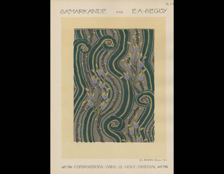 Seguy, E.A. (1020). Samarkande: 20 Compositions en couleurs dans le Style oriental, plate 8. Paris : Charles Massin. John Huntington Art & Polytechnic Trust, call number: NK1535 .S4 A56 1920z