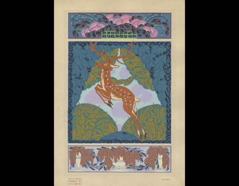 Thomas, A.H. (1921). Formes et couleurs: vingt planches en couleurs contenant soixante-sept motifs decoratifs, plate 1. Paris: Albert Levy, Librairie Centrale des Beaux-Arts. Presented by Miss Juanita Sheflee, call number: NK1510 .T5 1920z