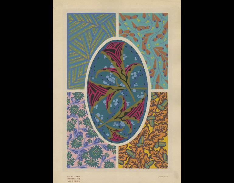 Thomas, A.H. (1921). Formes et couleurs: vingt planches en couleurs contenant soixante-sept motifs decoratifs, plate 8. Paris: Albert Levy, Librairie Centrale des Beaux-Arts. Presented by Miss Juanita Sheflee, call number: NK1510 .T5 1920z