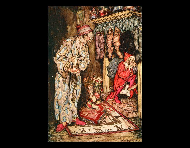 """Facing the title page, """"And giving a nod, up the chimney he rose…"""" by Arthur Rackham. In Moore, Clement Clarke, 1779-1863. The night before Christmas. London: G.C. Harrap, 1931. Rare Books. Call No. PS2429.M5 N56 1931, IML 986148."""