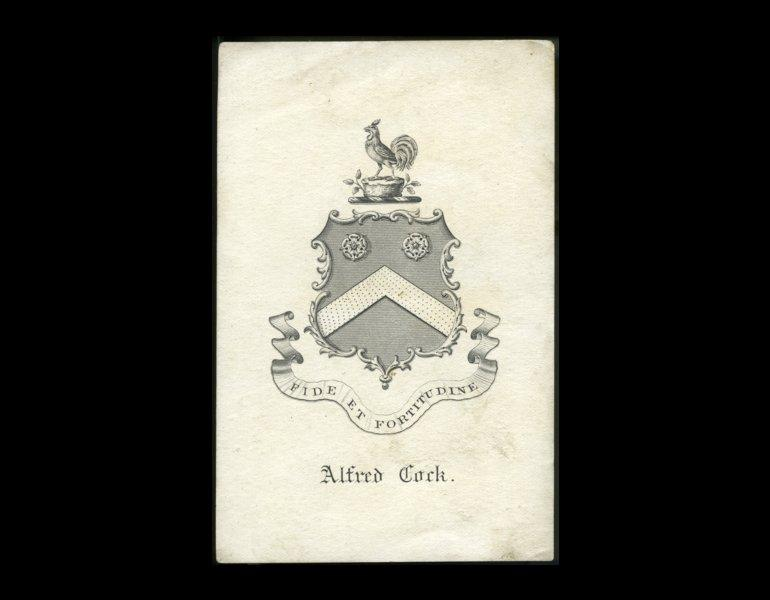 Bookplate of Alfred Cock, 19th Century, artist unknown. The banner reads fidelity and fortune, the family motto.