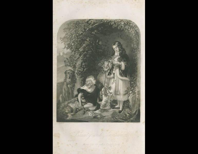 """The mezzotint """"Beauty and Innocence"""" illustrates a poem of the same title, written by Mrs. Hale. Godey's Lady's Book, XXIV. (April 1842). Philadelphia: Louis A. Godey. Presented by Severance A. Milliken, call number: A20 G582, 1842-1844"""