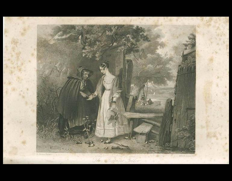 """The Fourtune Teller,"" engraved for Godey's Lady's Book by S. Jones Pinxt and Alfred Jones Sc., illustrates another short story by Mrs. Hale. Godey's Lady's Book, XXV, 61. (August 1842). Philadelphia: Louis A. Godey. Presented by Severance A. Milliken, call number: A20 G582, 1842-1844"