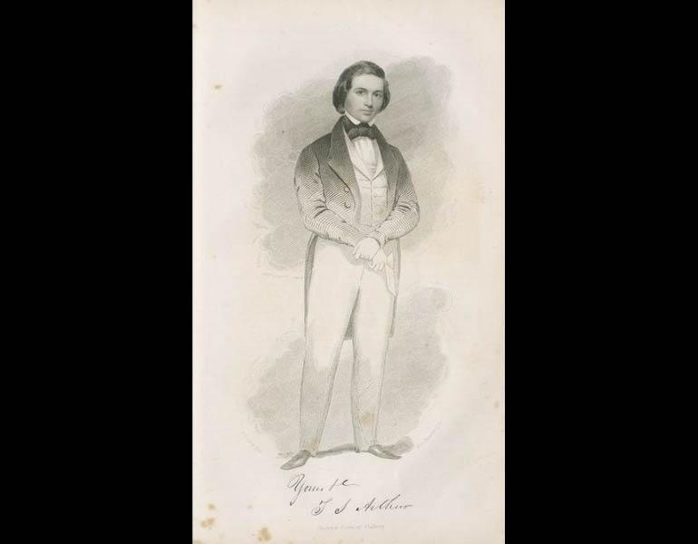 """The November [1842] issue included a """"portrait of the celebrated author and favorite writer, Mr. T.S. Arthur. We court a comparison between this admirable production from the burin of Armstrong and those of any other publication of the day."""" Mr. Arthur wrote stories for Godey's Lady's Book including """"Anna Milnor: The young lady who was not punctual."""" Godey's Lady's Book, XXIX, 193. (November 1844). Philadelphia: Louis A. Godey. Presented by Severance A. Milliken, call number: A20 G582, 1842-1844"""