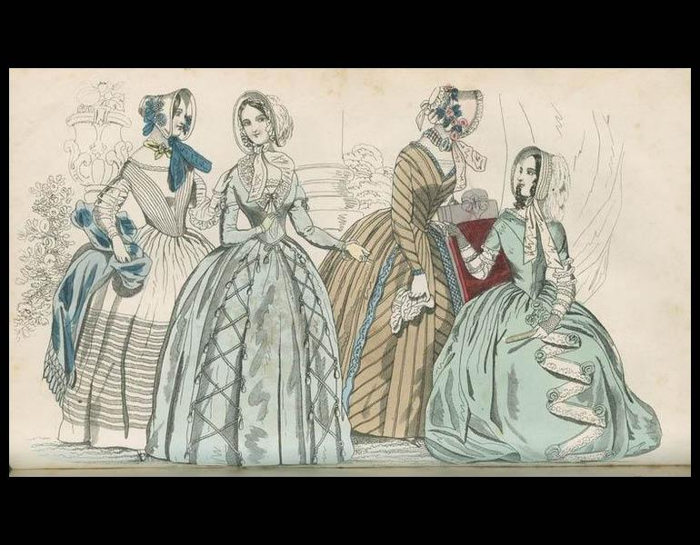 """""""Paris plates of fashion in the present number (from left to right) Fig. 1- Dress of India muslin, over a pale yellow under dress... Fig. 2- Dress of light blue pou de soie.. Fig. 3- Dress of nut brown striped pekin... Fig. 4- Dress of sea green gos de Naples... """" Godey's Lady's Book, XXIV, 156. (September 1842). Philadelphia: Louis A. Godey. Presented by Severance A. Milliken, call number: A20 G582, 1842-1844"""