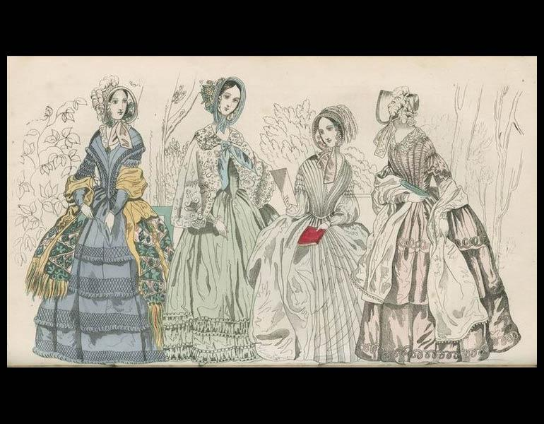 """There appears to be considerable 'flouncing' of late among some 'cap'-tious individuals of the masculine gender on the subject of the pet-fashion plates. Would you believe it, ladies, that objections have been raised against our publishing them at all, because forsooth, the artist happens, in his devotion to the subject, to press a little too tight the waists of some of his figures, or the colorist to add a deeper tinge of carmine to the pictured complexion than quite natural? Yet so it is."" Godey's Lady'"