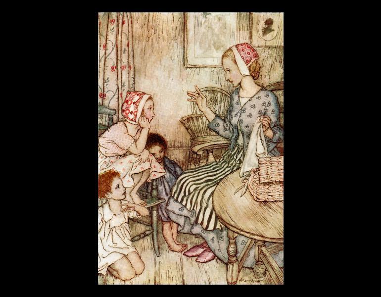 "Page 43, ""Laura would call the little ones…"" by Arthur Rackham. In Rossetti, Christina Georgina, 1830-1894. Goblin market. London: George G. Harrap, 1933. Rare Books. Call No. NC242.R33 R67 1933, IML 986149."