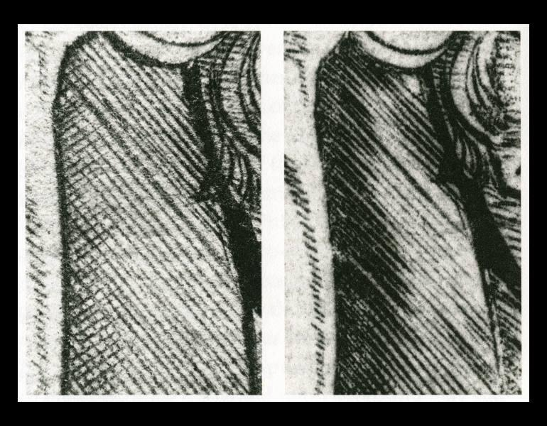 03 Comparative detail of the Cleveland Museum of Art (left) and Rijksmuseum, Amsterdam (right) impressions, showing reinforced engraving lines and, possibly, some additional fine lines