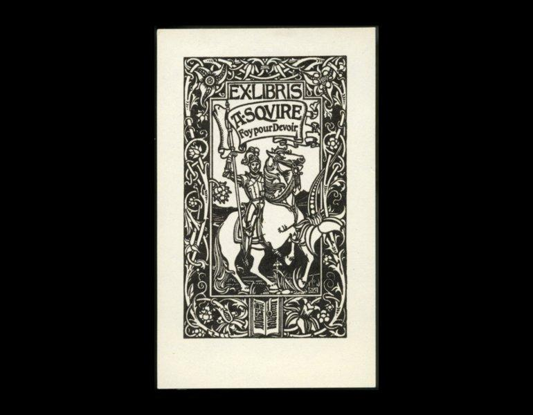 Bookplate of A. Squire, 1897, by Bertram Grosvenor Goodhue. The banner reads faith for duty. Visual punning, known as canting, is common in many bookplates.