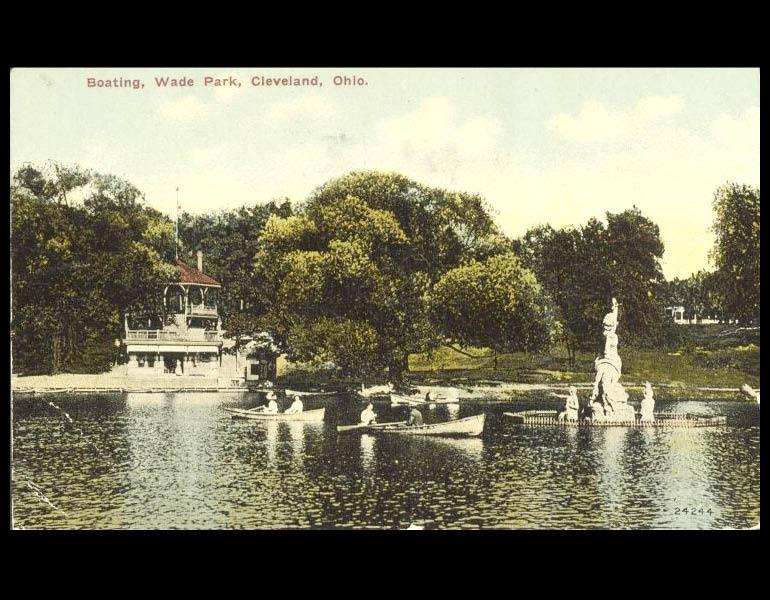 """Boating, Wade Park, Cleveland, Ohio,"" postcard. Cleveland Museum or Art. Archives. Records of the Fine Arts Garden. IML 900035"